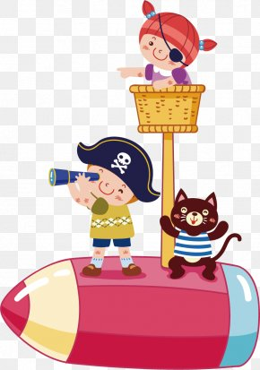 Pirate Telescope Vector Elements - Piracy Cartoon Child Illustration PNG