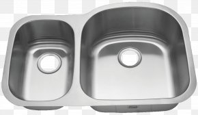 Sink - Kitchen Sink Countertop Stainless Steel Drain PNG