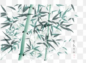 Handsome Bamboo - Bamboo Ink Wash Painting Illustration PNG