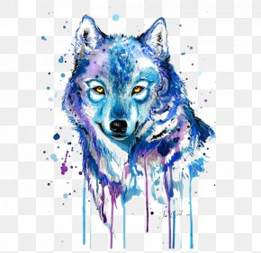 Abstract Wolf - Gray Wolf Tattoo Watercolor Painting Drawing PNG