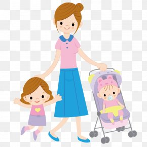 Mother With Children Playing - Child Mother Cartoon Illustration PNG