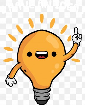 Vector Funny Cartoon Light Bulb - Cartoon Light Lamp Clip Art PNG