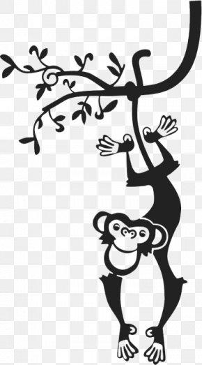 Upside Down In A Tree Monkey - Paper Wall Child Sticker Nursery PNG