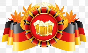 Oktoberfest Decor German Flag With Wheat And Beers Clipart - Oktoberfest Wheat Beer German Cuisine PNG