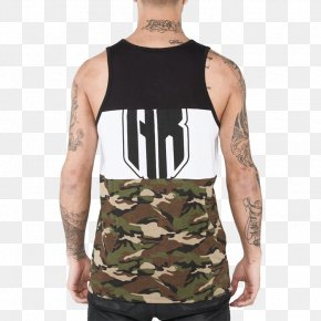 T-shirt - T-shirt Gilets Military Camouflage Sleeveless Shirt Shoulder PNG