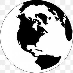 Earth Black And White - Globe World Black And White Clip Art PNG