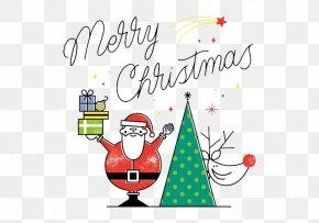 Santa Claus Waved Gift - Rudolph Santa Claus Reindeer Christmas PNG