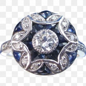 Art Deco - Sapphire Engagement Ring Jewellery Carat PNG