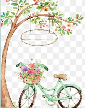 Drawing Bicycle - Watercolor Painting Bicycle Drawing PNG