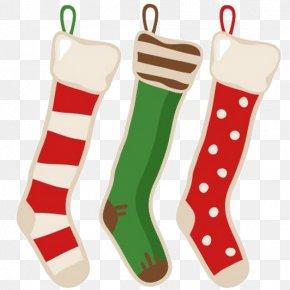 Cartoon Christmas Stocking Socks - Santa Claus Christmas Stocking Vintage Clothing PNG
