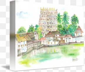 Sree Padmanabha Swamy Temple - Padmanabhaswamy Temple Watercolor Painting Drawing Art Sketch PNG
