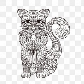 Puppy Linear Painting - Cat Kitten Drawing Coloring Book PNG
