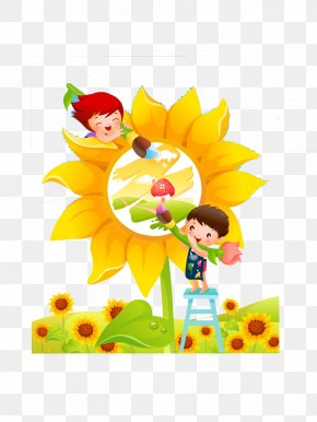 Sunflower Sketchpad - Child Display Resolution Wallpaper PNG