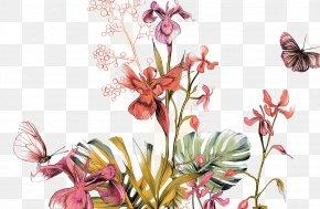 Painted Floral Design Patterns - Floral Design Mural Illustration PNG