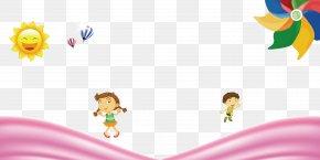Cartoon Child Sun Hot Air Balloon Windmill Background - Cartoon Child Balloon Animation PNG