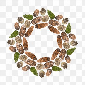 Happy Holidays Wreath - Euclidean Vector Conifer Cone Computer File PNG