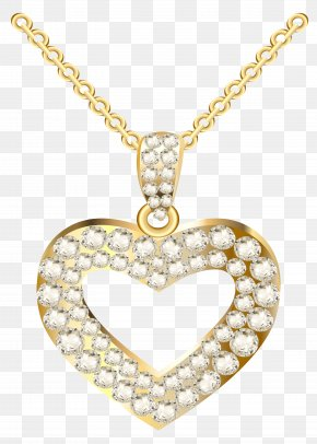 Golden Heart Necklace With Diamonds Clipart - Necklace Heart Jewellery Pendant Clip Art PNG