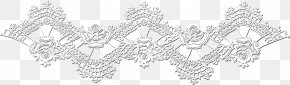 Silver Lace Border - Structure Black And White Pattern PNG