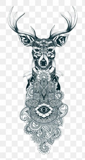 Tattoo - Reindeer Tattoo Drawing Gray Wolf PNG