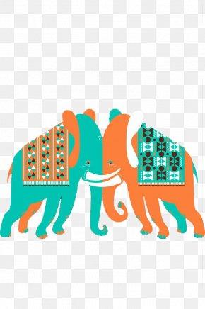 Two Elephants Wrestling - Elephant Euclidean Vector Clip Art PNG