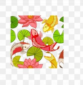 Carp Lotus Leaf Seamless Background - Nelumbo Nucifera Illustration PNG