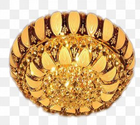 Gold Round Crystal Lamp In Kind Promotion - Lamp Gold PNG