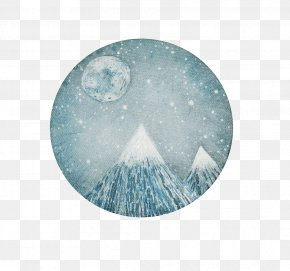 Decorate The Full Moon - Fine Art Watercolor Painting Printmaking PNG