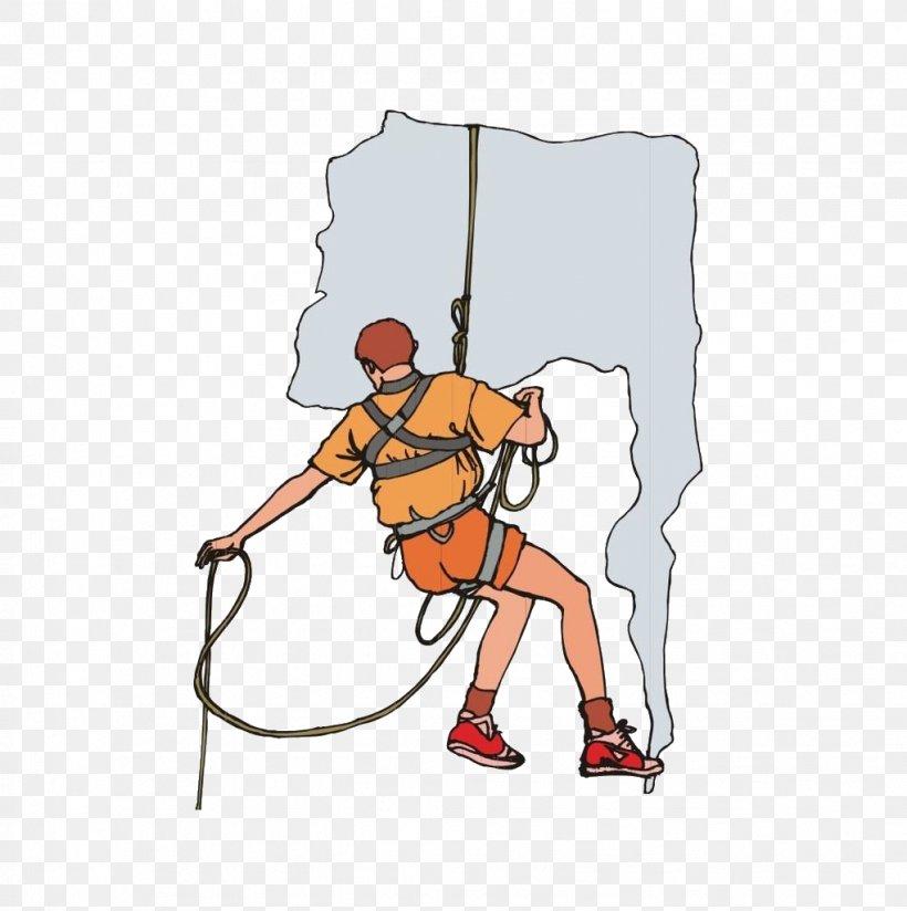 Rock Climbing Cartoon, PNG, 1021x1027px, Climbing, Area, Arm, Art, Baseball Equipment Download Free
