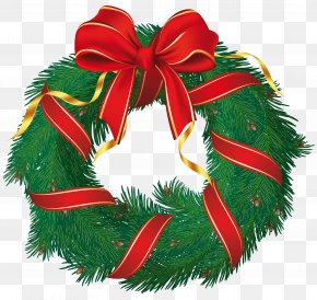 Evergreen Garland Cliparts - Candy Cane Christmas Wreath Garland Clip Art PNG