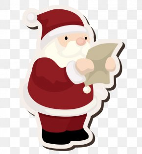 Santa Claus Reading The Letter - Santa Claus Christmas Ornament PNG
