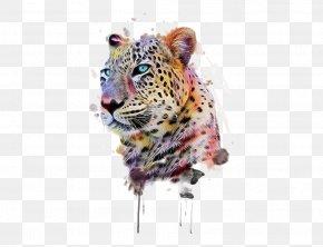Hand-painted Cheetah - Leopard T-shirt Animal Print Illustration PNG