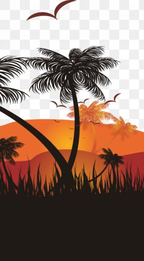 Abstract Coconut Tree Pattern - Sunset Graphic Design Illustration PNG