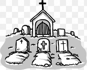 Hand-painted Cemetery - Cemetery Grave Drawing Tomb Clip Art PNG