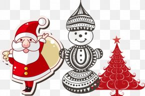 Snowman Santa Claus Christmas Tree - Santa Claus Christmas Ornament Christmas Tree Illustration PNG
