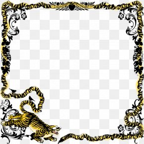 Letterhead Borders - Tiger Puppy Picture Frame Ornament Clip Art PNG