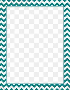 Teal Border Frame File - Paper Green Chevron Blue Clip Art PNG
