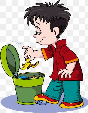 Rubbish Thrown Into The Trash - Waste Container Clip Art PNG