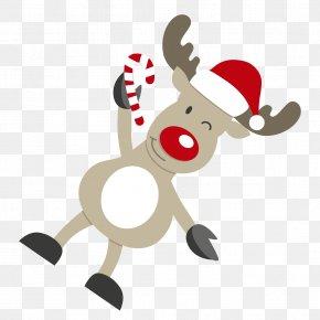 Cartoon Christmas Reindeer Vector Material Blink - Santa Claus's Reindeer Santa Claus's Reindeer Christmas Card PNG