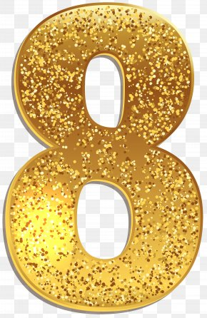 Number Eight Gold Shining Clip Art Image - Number Clip Art PNG