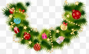 Christmas Pine Branch Garland With Ornaments - Christmas Garland Wreath Clip Art PNG