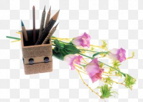 Pen And Flowers - Flower Beach Rose Pen PNG