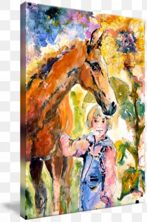 Ink Watercolor Painting - Horse Watercolor Painting Gallery Wrap PNG