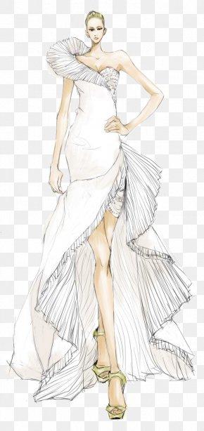 Hand-painted Wedding Dress Model Illustration - Formal Wear Gown Model Designer Illustration PNG