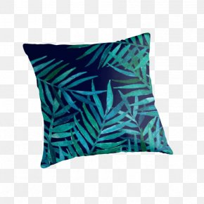 WATERCOLOR LEAF - Throw Pillows Turquoise Aqua Electric Blue Teal PNG