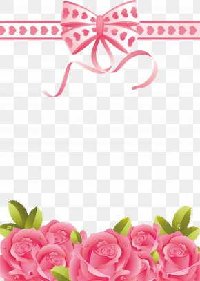 Pink Flower Border - Greeting & Note Cards Valentine's Day PNG