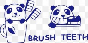 Brushing Toothbrush Cup Cute Cartoon Panda - Paper Brush Wall Decal Sticker PNG