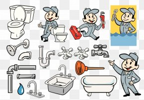 Toilet Workers - Plumber Plumbing Pipe Bathroom Illustration PNG