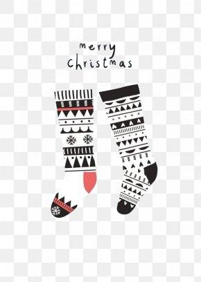 Black And Red Christmas Stocking - Santa Claus Christmas Stocking Christmas Card Illustration PNG