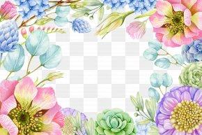 Watercolor Pink Flowers - Paper Watercolor Painting Clip Art PNG