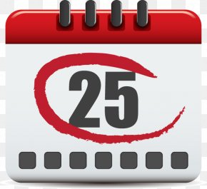 Calendar Painted Red Circle Pattern - Clip Art PNG